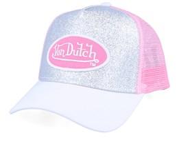 Oval Patch Glitter Silver/White/Pink Trucker - Von Dutch