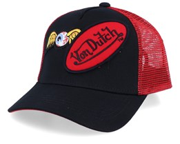 Flying Eye Patch Black/Red Trucker - Von Dutch