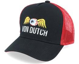 Flying Eye Patch Black/Red Trucker - Von Dutch