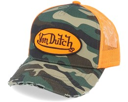 Oval Patch Baseball Mesh Junior Camo/Orange Trucker - Von Dutch