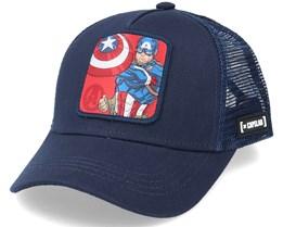 Kids Captain America Marine Blue Trucker - Capslab