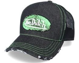 Oval Patch Black Denim/Neon Green Trucker - Von Dutch