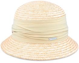 Cloche In Straw Braid With Flower Linen Straw Hat - Seeberger