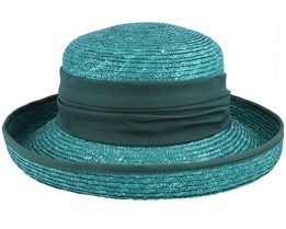 Hat In Straw Braid Forest Green Straw Hat - Seeberger