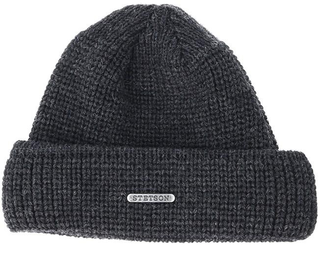 Merino Wool Dark Grey Black Beanie - Stetson beanies  e34142e63bde