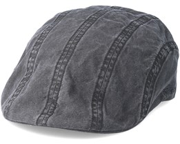 Ivy Delave Organic Cotton Washed Black Flatcap - Stetson