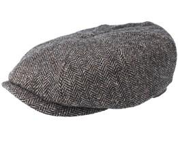Hatteras Woolrich Herringbone Black/Grey Flat Cap - Stetson