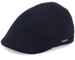 Texas Wool/Cashmere Ear Flap Black Flat Cap - Stetson