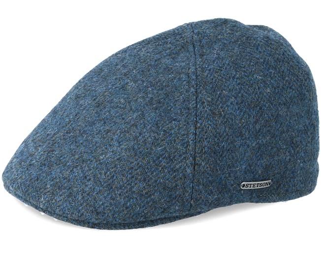 87f2d3fd76dff Texas Woolrich Herringbone Fischgrat Blue Flat Cap - Stetson caps -  Hatstoreworld.com