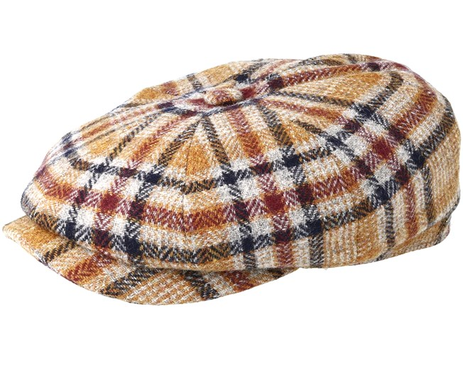 Hatteras Woolrich Check Brown Flat Cap - Stetson cap - Hatstore.co.in 426a81eaaef