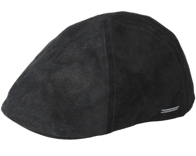 3bb68c15 Texas Pig Skin Black Flat Cap - Stetson caps - Hatstoreworld.com