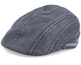 Ivy CO/PE Ear Flap Black Flat Cap - Stetson