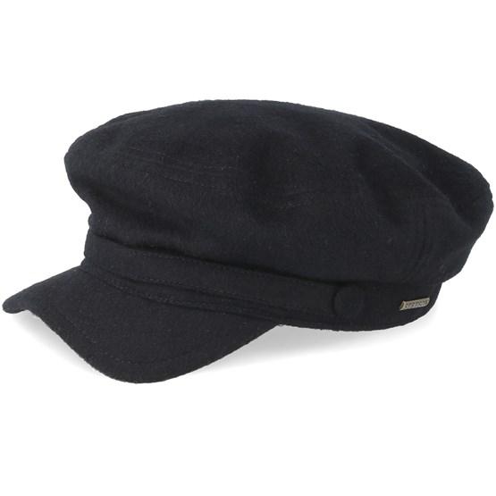 7b35029caecd1 Riders Cap Wool Black Flat Cap - Stetson caps