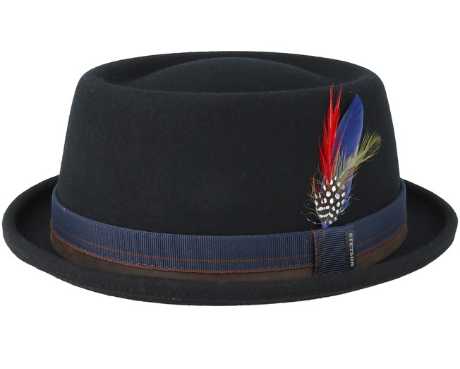 603f00155 Woolfelt Black Pork Pie - Stetson hats - Hatstoreworld.com