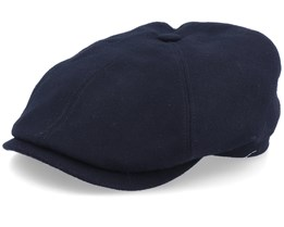 6-Panel Cap Virgin Wool/Cashmere Black Flat Cap - Stetson