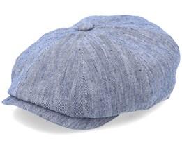 Hatteras Herringbone Cotton/Linen Blue Flat Cap - Stetson