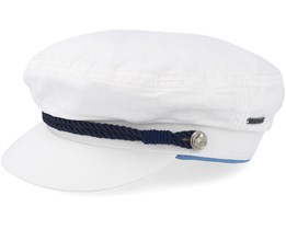 Riders Cap Dyed Cotton White Flat Cap - Stetson