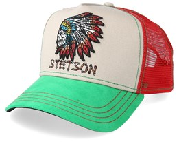 Indian Skull Beige/Röd/Grön Trucker - Stetson