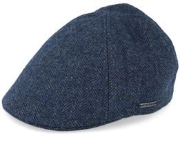 Texas Wool Herringbone Blue Flat Cap - Stetson