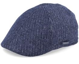 Texas Cotton Pinstripe Black Flat Cap - Stetson