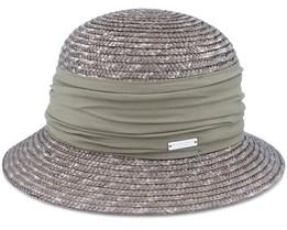 Cloche In Straw Braid With Flower Olive Straw Hat - Seeberger