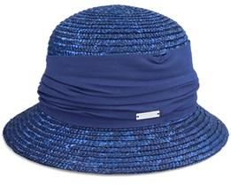 Cloche In Straw Braid With Flower Ink Blue Straw Hat - Seeberger