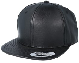 Leather Imitation Black/Black Snapback - Yupoong