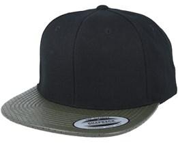 Perforated Visor Black/Olive Snapback - Yupoong