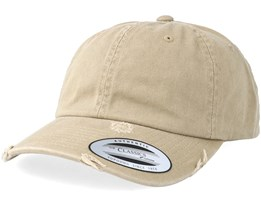Dad Cap Ripped Khaki Adjustable - Yupoong