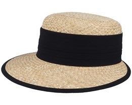 Woman Cap Natural/Black Straw Hat - Seeberger