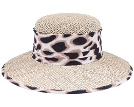 Leo Print Trimming Linen/Cloche Seagras Straw Hat - Seeberger