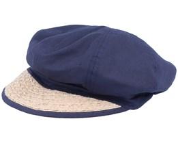 Balloncap Material Mix Swallow Blue/Sand Flat Cap - Seeberger