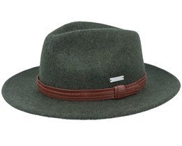 Felt Olive/Leather Fedora - Seeberger
