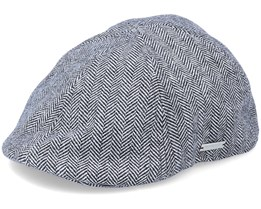 Fishgrat Off White/Black Flat Cap - Seeberger