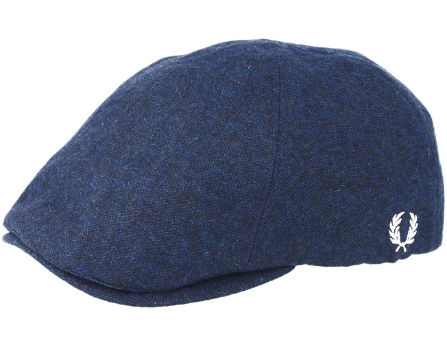 Boiled Wool Navy Flat Cap - Fred Perry cap - Hatstore.co.in 95ba5f4d656