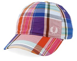 Baseball Cap Checked Red Adjustable - Fred Perry