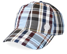 Baseball Cap Checked Sky Adjustable - Fred Perry