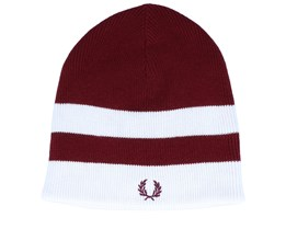 Bold Tipped Dark Red/White Beanie - Fred Perry