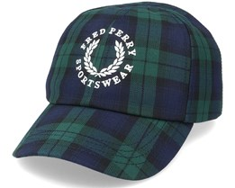 Black Watch Dad Cap Tartan Green/Blue Adjustable - Fred Perry
