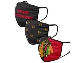 Chicago Blackhawks 3-Pack NHL Black/Red Face Mask - Foco