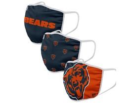 Chicago Bears 3-Pack NFL Navy/Orange Face Mask - Foco