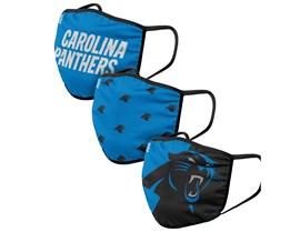 Carolina Panthers 3-Pack NFL Blue/Black Face Mask - Foco