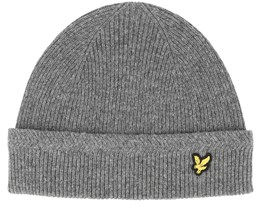 Racked Rib Mid Grey Marl Beanie - Lyle & Scott
