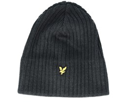Knitted Ribbed Mid Grey Beanie - Lyle & Scott