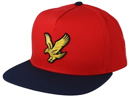 Colour Block Baseball Grenadine Red/Dark Navy Strapback - Lyle & Scott