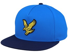 Colour Block Eagle Cap Bright Royal Blue/Dark Navy Strapback - Lyle & Scott