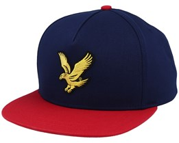 Colour Block Eagle Cap Dark Navy/Gala Red Strapback - Lyle & Scott