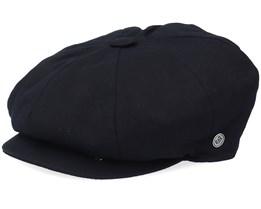 Cotton Newsboy Black Flat Cap - Jaxon & James