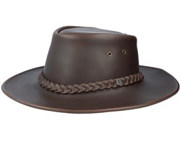 Crushable Leather Outback Hat Brown Traveler - Jaxon & James