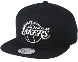 LA Lakers Wool Solid Black/White Snapback - Mitchell & Ness